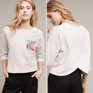 ANTHRO Postmark Patched Pullover Crop Sweatshirt